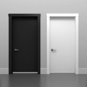 ドアの黒と白