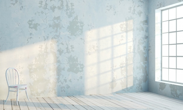 白い窓のあるロフトスタイルの内壁