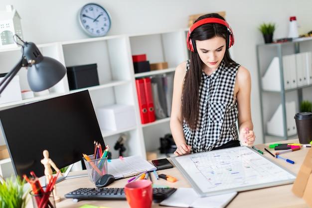若い女の子がテーブルの近くに立って、左手にマーカーを持っています。テーブルの上には磁気ボードがあります。