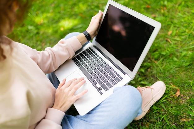 公園の芝生の上に座っている間レイアウトを持つラップトップで入力する女の子