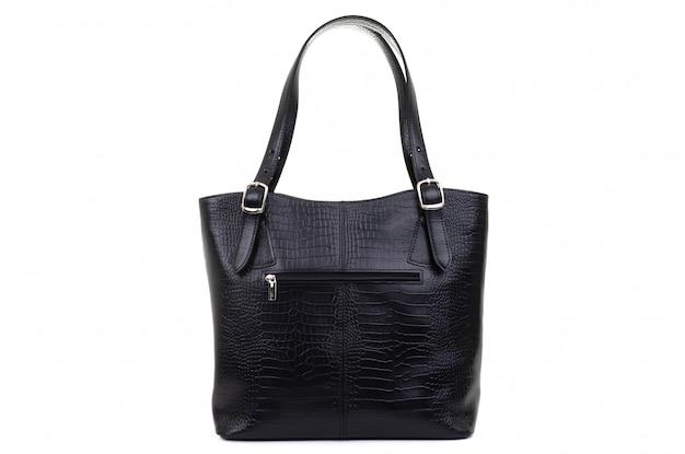 白い背景で隔離の女性黒革バッグ