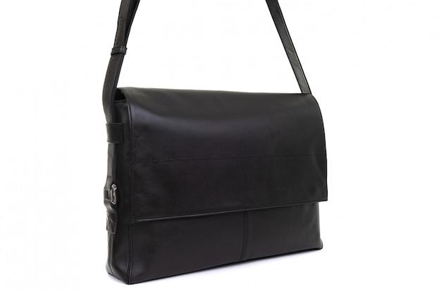 白い背景で隔離の革女性黒バッグ