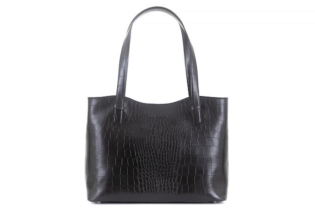 ハンドル付き黒のエレガントな革の女性のバッグ