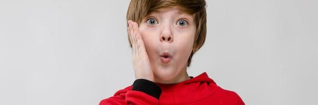 赤いセーターでかわいい自信を持って白人の小さな驚いた少年