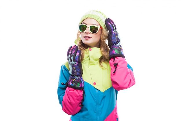 サングラスのスキー少女