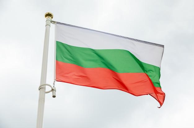 空に対して日光の下でブルガリアの旗