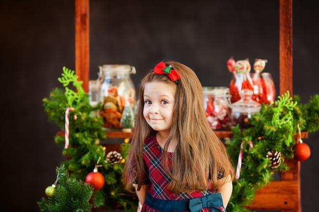 クリスマス装飾の近くの素敵な女の子の肖像
