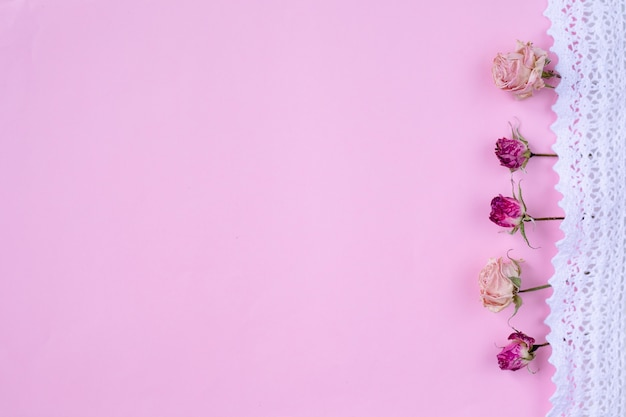 Маленькие сухие розы на пастельно-розовом фоне,