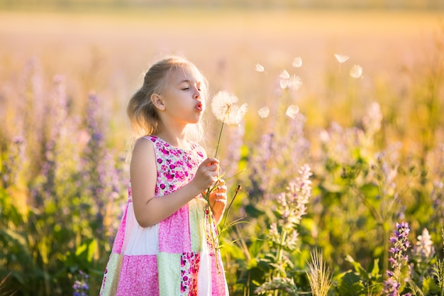 夕日に花のフィールドでブロンドの女の子の肖像画。