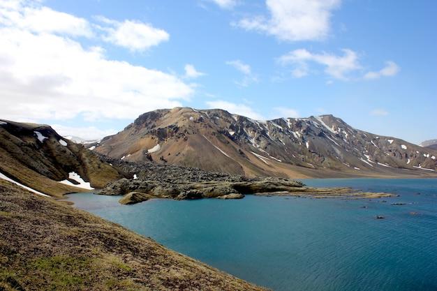 Горы и озеро пейзаж в исландии