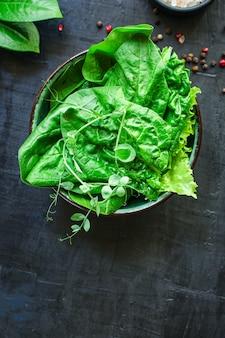 グリーンサラダほうれん草、ルッコラ、レタス、マイクログリーン