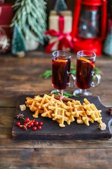 ベルギーワッフルクリスマス新年デザートベーキング