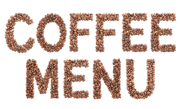 豆で作られた単語のコーヒーメニュー。