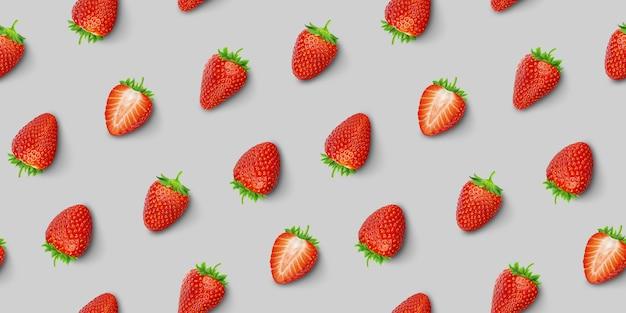 イチゴのシームレスなパターン、平面図、フラットレイアウト