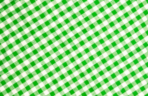 緑の市松模様のテーブルクロスのテクスチャ