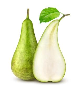 白い背景に分離された緑の梨