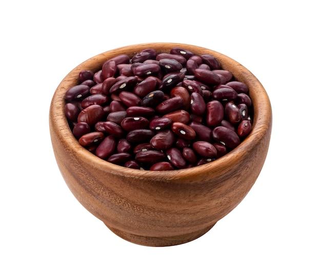 分離された木製のボウルに赤豆