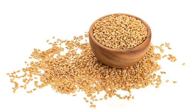 白で隔離される小麦粒