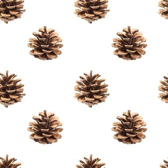 白で隔離される松ぼっくりのシームレスパターン