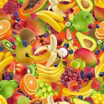 トロピカルフルーツのシームレスなパターン、色の背景上に分離されて落ちるエキゾチックなフルーツ