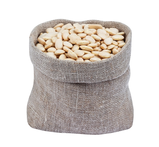 白で隔離の袋に白いインゲン豆