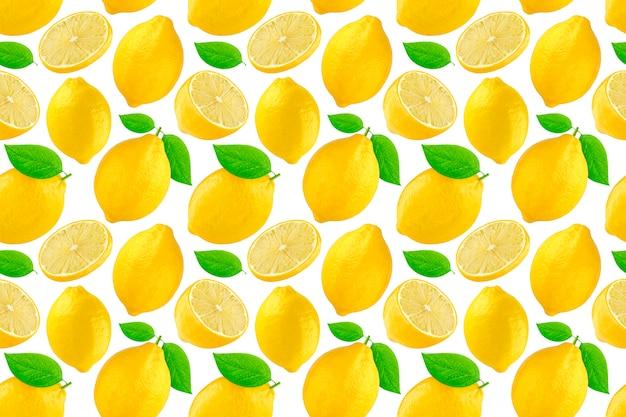 Бесшовный фон с лимонами. лимон, изолированные на белом фоне.