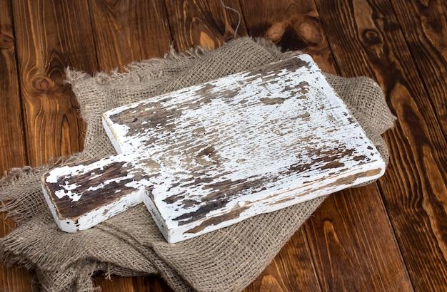 黄麻布の古いまな板