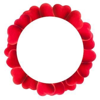 白で隔離赤いハートの丸いフレーム
