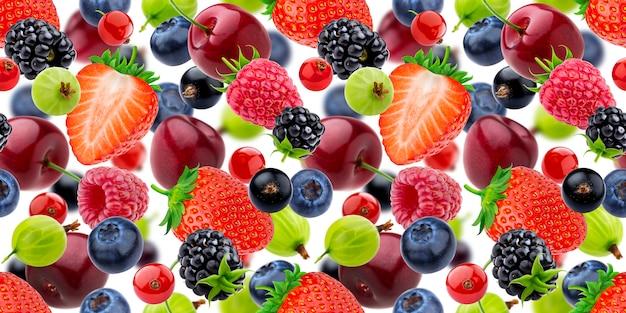 Падающие ягоды бесшовные модели на белом