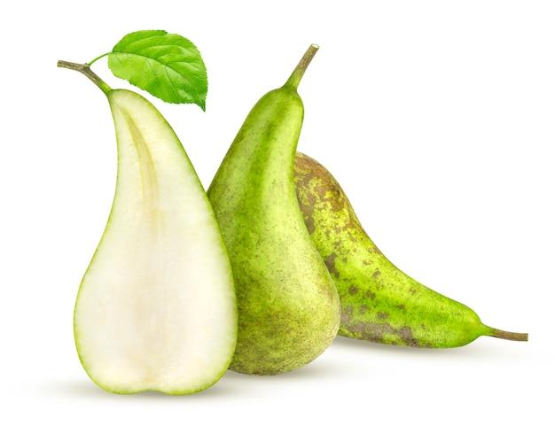 白で隔離される緑の会議梨
