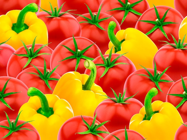 トマトとピーマンのシームレスパターン