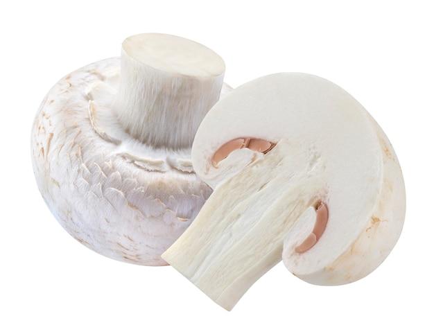 白で隔離されるキノコシャンピニオン