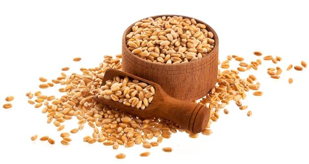 白で隔離されるスクープと木製のボウルに小麦粒