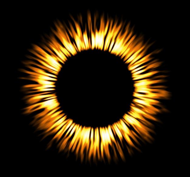 丸い火のフレーム。輝くサークルバナー。