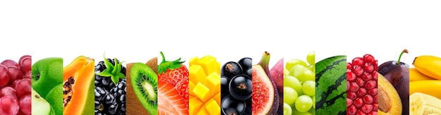 コピースペースを白で隔離される果物のコラージュ