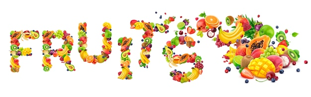 さまざまな果物や果実で作られた単語フルーツ