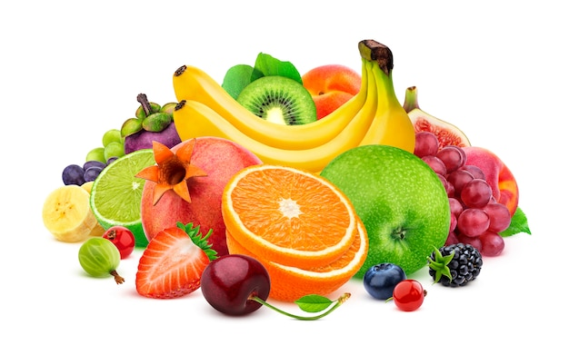 白で隔離される熱帯の果物