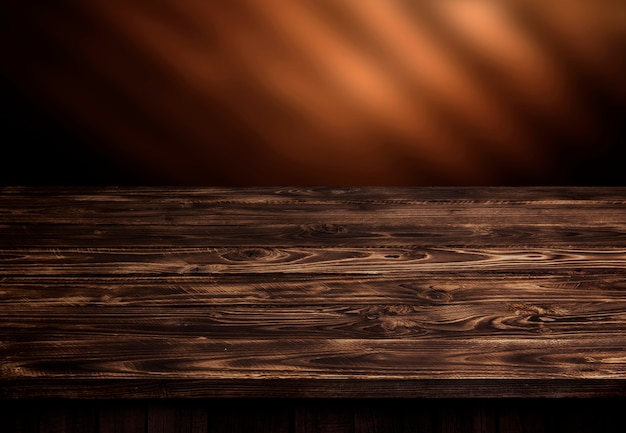 Стол из темного дерева, интерьер из коричневого дерева