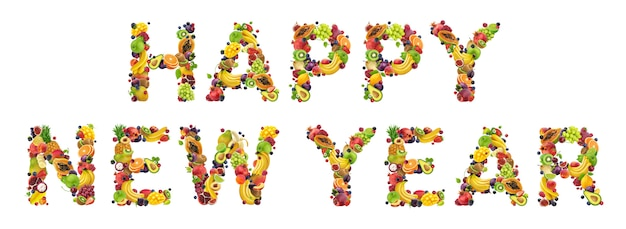 新鮮な食材で書かれた新年あけましておめでとうございます