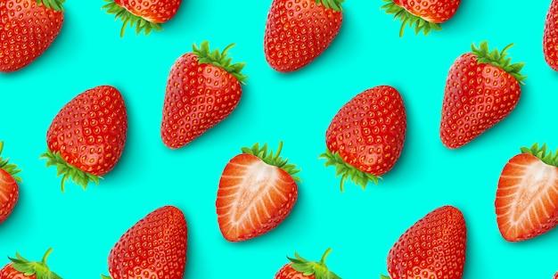 イチゴのシームレスパターン、上面図、平干し