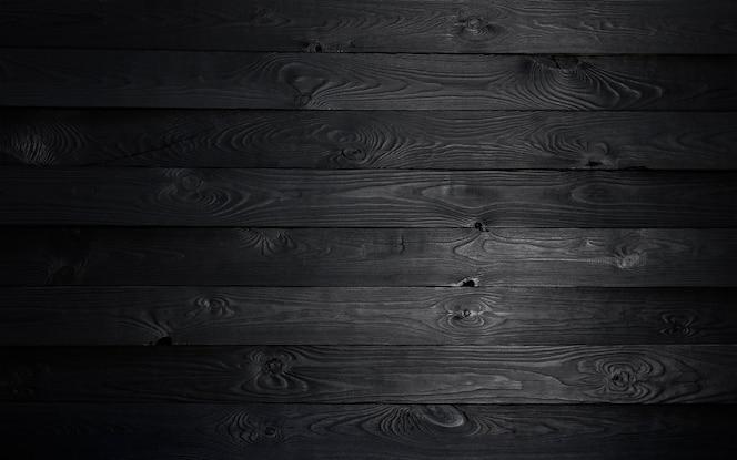 黒い木製の背景、古い木製のテクスチャ