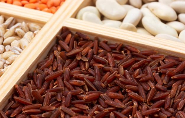 正方形の木箱に赤い水稲種子のクローズアップ