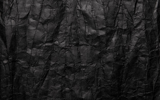 Текстура черной мятой бумаги, старый гранж