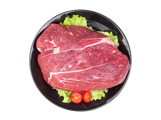 白で隔離される生の牛肉の部分