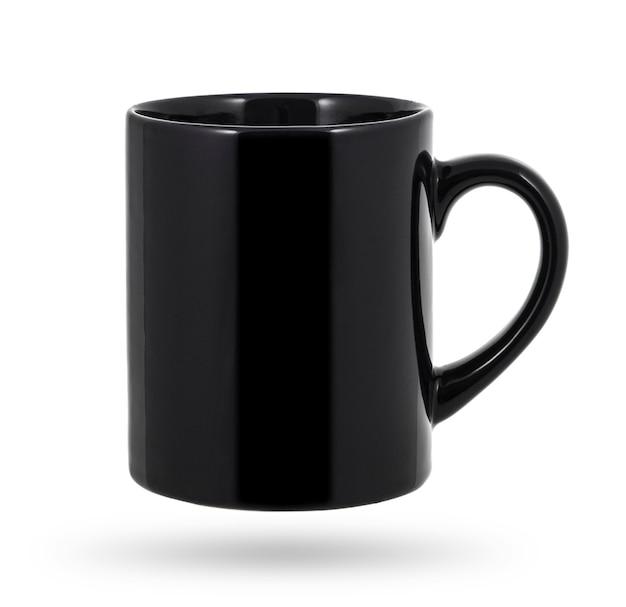 黒のマグカップ、白で隔離