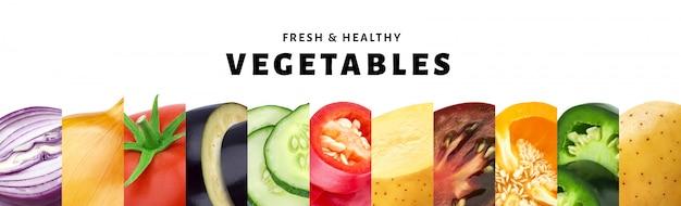 コピースペース、新鮮で健康的な野菜のクローズアップを白で隔離される野菜のコラージュ