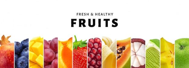 コピースペース、新鮮で健康的なフルーツとベリーのクローズアップを白で隔離されるフルーツのコラージュ