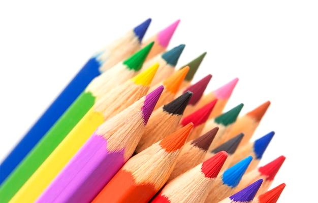 多色鉛筆のグループ、クローズアップ