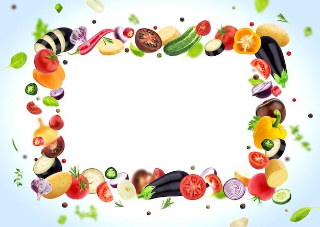 白いハーブとスパイス、コピースペースで分離された野菜