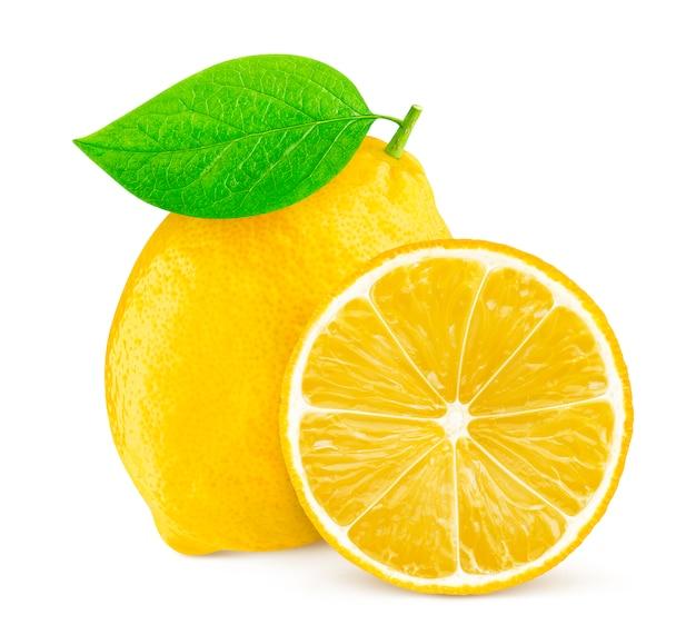 白で隔離されるレモン